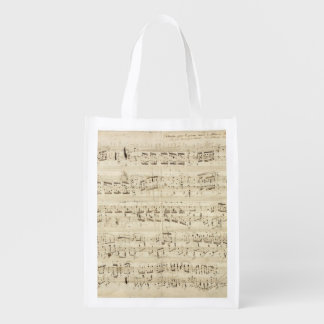 Old Music Notes - Chopin Music Sheet Grocery Bag