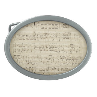 Old Music Notes - Chopin Music Sheet Oval Belt Buckle