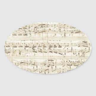 Old Music Notes - Chopin Music Sheet Oval Sticker