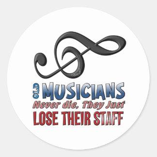Old Musicians Staff Epitaph Classic Round Sticker