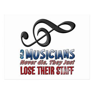 Old Musicians Staff Epitaph Postcard