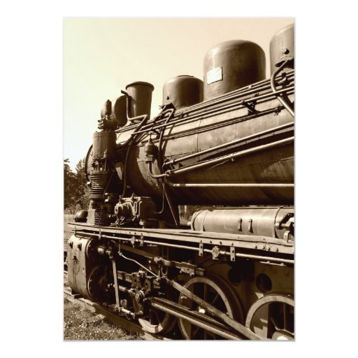 Old narrow-gauge steam engine Gr-269 5x7 Paper Invitation Card