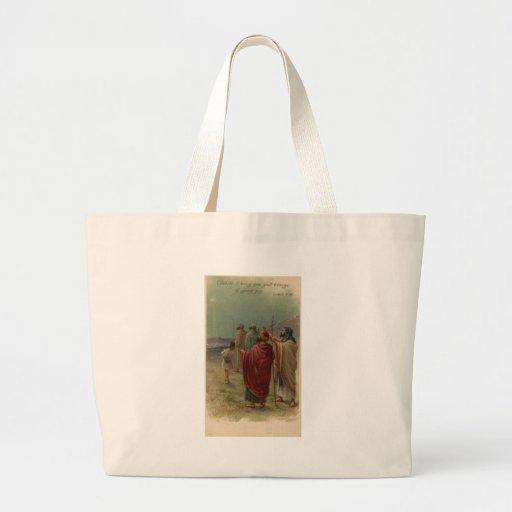 old nativity scene jumbo tote bag