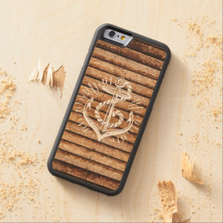 Old Nautical Anchor Wood Carved Maple iPhone 6 Bumper Case