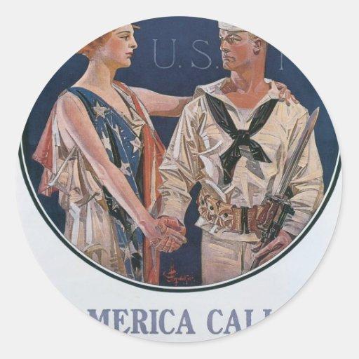 Old Navy que recluta el poster circa 1917 Pegatina Redonda