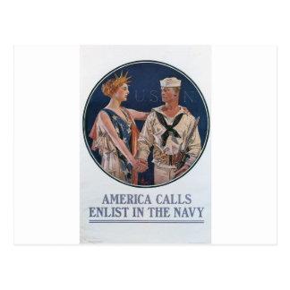 Old Navy que recluta el poster circa 1917 Postal