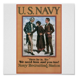 Old Navy Recruiting Poster circa 1917