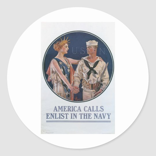 Old Navy Recruiting Poster circa 1917 Classic Round Sticker
