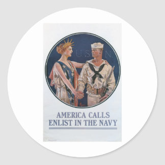 Old Navy Recruiting Poster circa 1917 Round Stickers