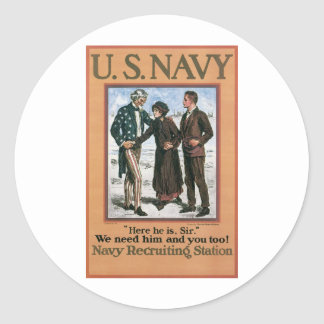Old Navy Recruiting Poster circa 1917 Stickers