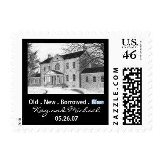 Old . New . Borrowed . Blue Wedding Stamp