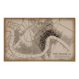 Old New Orleans 1841 Map Poster