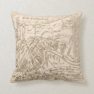 Old New Orleans Map, add text Pillow