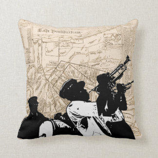 Old New Orleans Map, with Brass Band Throw Pillow