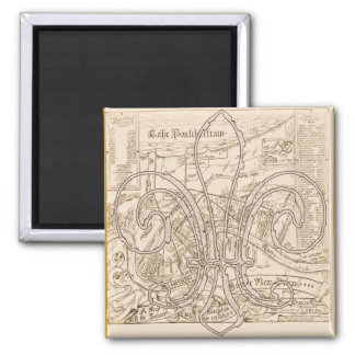 Old New Orleans Map with Fleur 2 Inch Square Magnet