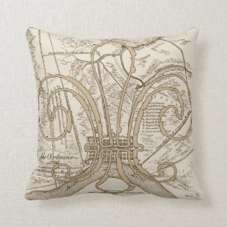 Old New Orleans Map with Fleur Throw Pillow