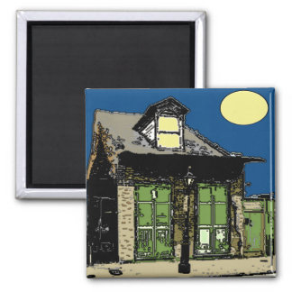 Old New Orleans Shotgun House under a full Moon 2 Inch Square Magnet