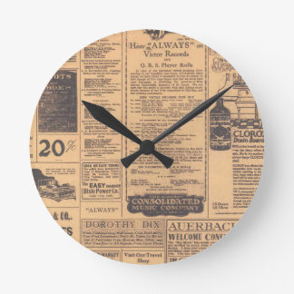 Old Newspaper Page Style Wall Clock
