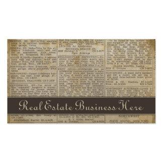Old Newsprint Real Estate Business Card