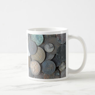 Old ney coins mainly pennies coffee mug