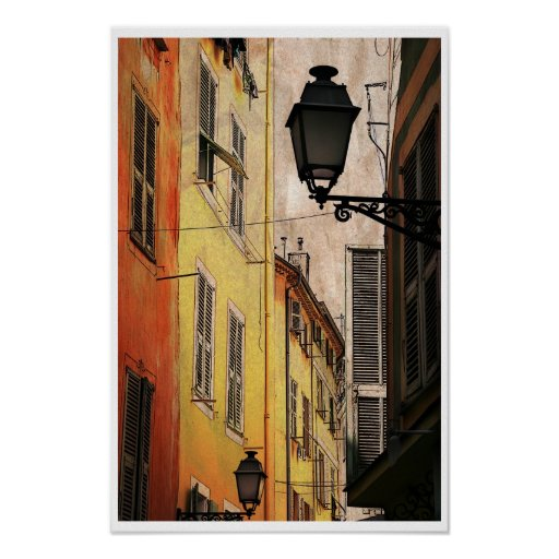 Old Nice, provence city streets Poster