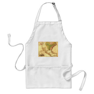 Old North American  Map Adult Apron
