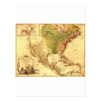 Old North American Map Postcard