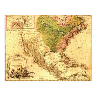 Old North American Map Post Card
