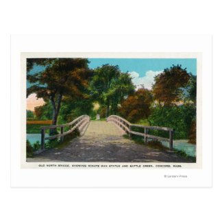 Old North Bridge View of Minute Man Statue # 2 Postcard