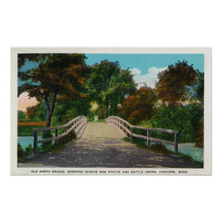 Old North Bridge View of Minute Man Statue # 2 Poster