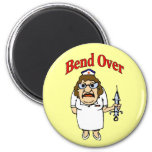 Old Nurse Bend Over 2 Inch Round Magnet