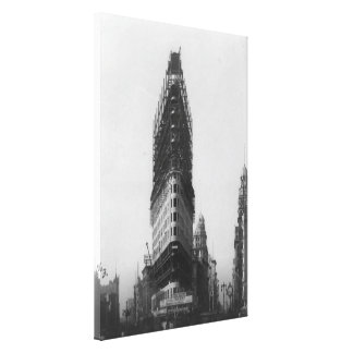 Old NYC Flat Iron Building Construction Photograph Canvas Print