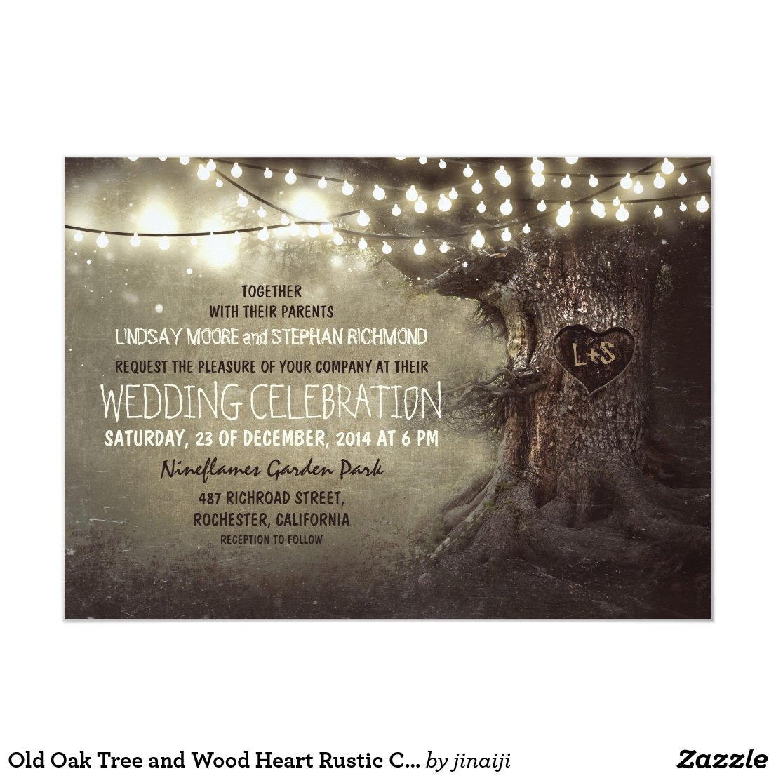Old Oak Tree and Wood Heart Rustic Country Card