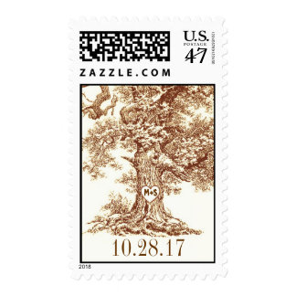 old oak tree rustic wedding postage stamps
