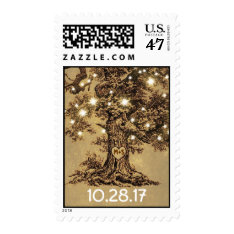 old oak tree rustic wedding postage stamps at Zazzle