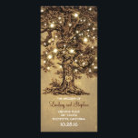 """old oak tree rustic wedding programs<br><div class=""""desc"""">elegant brown wedding programs featuring old oak tree,  string lights and carved wooden heart shape initials. Perfect trendy wedding program for rustic wedding in the country or garden.</div>"""