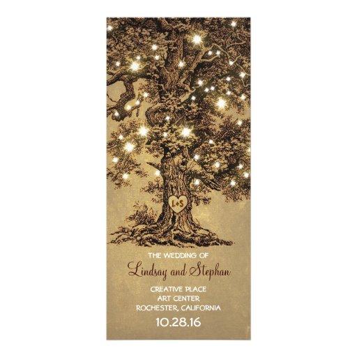 old oak tree rustic wedding programs Customized Rack Card