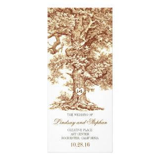 old oak tree rustic wedding programs custom rack cards