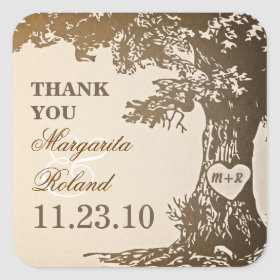 old oak tree thank you wedding stickers