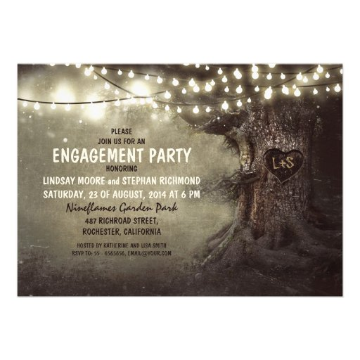 old oak tree twinkle lights engagement party personalized announcements