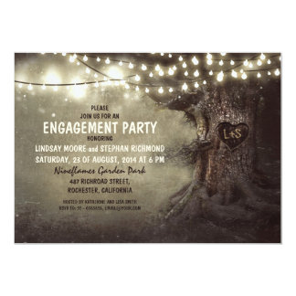 old oak tree twinkle lights engagement party invitation