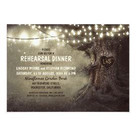 old oak tree twinkle lights rehearsal dinner card