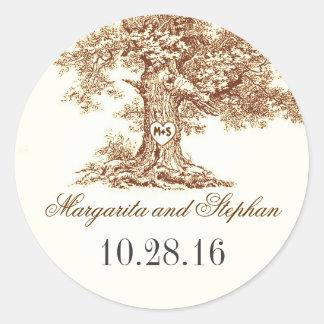 Old oak tree wedding stickers
