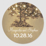 """Old oak tree wedding stickers<br><div class=""""desc"""">Carved old tree romantic wedding stickers - seals for your wedding postage and favors.</div>"""