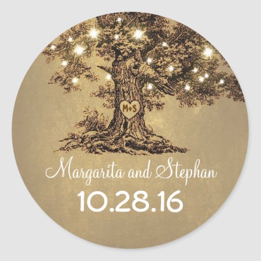 Old oak tree wedding stickers