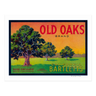 Old Oaks Pear Crate LabelBryte, CA Postcard