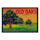 Old Oaks Pear Crate LabelBryte, CA Poster