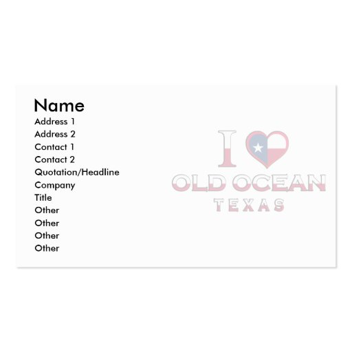 Old Ocean, Texas Double-Sided Standard Business Cards (Pack Of 100)