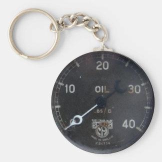 old oil pressure gauge / instrument / dial / meter basic round button keychain