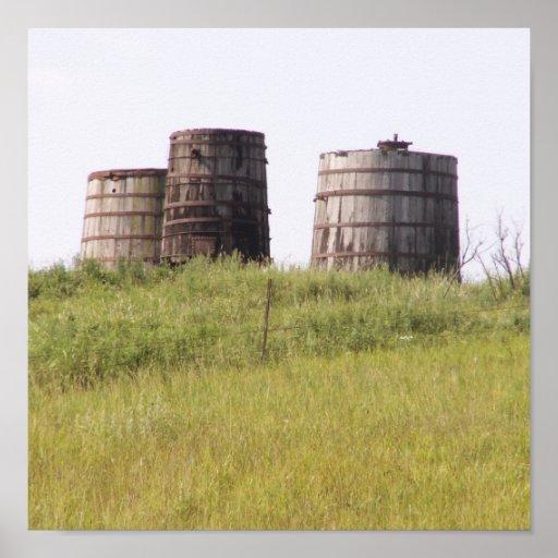 Old Oil storage Tanks Posters
